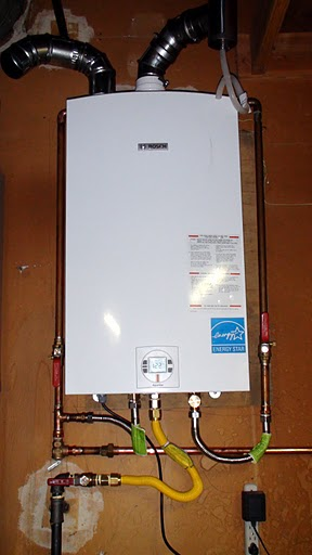 Installed tankless water heater